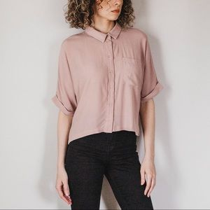 Dusty Rose Short Sleeve Over-Sized Slouchy Blouse